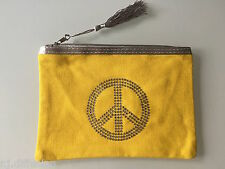 PETITE POCHETTE SAC A MAIN MOTIF PEACE AND LOVE STRASS JAUNE