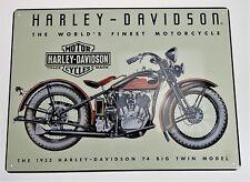 Harley Davidson 74 Big Twin 1933 Retro Motorcycle Metal Garage Wall Sign Plaque
