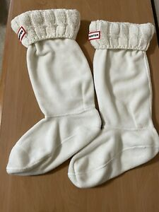 Hunter Welly Boot ~ Liners Socks Ivory Fleece Size M Medium Fits Size 5-7 Boots