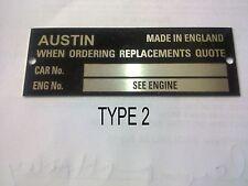 CHASSIS PLATE AUSTIN aluminium austin a30 a40 a50 a70 1100 1800 healey vintage