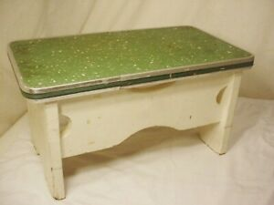 Vtg Linoleum Top Step Stool Display White Painted Farmhouse Kitchen Handcrafted