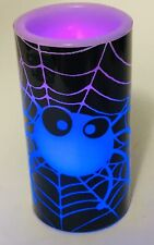Halloween Flameless Candle Pillar Spider Spooky Decoration Battery Operated