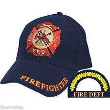 FIREFIGHTER FIREMAN FIRE GOLD WREATH MALTESE EMBROIDERED BLUE  HAT CAP