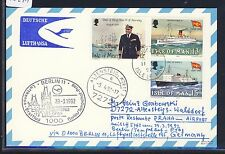 58241) LH FF Berlin - Prag 29.3.92, Karte ab Isle of Man, ship Norway..