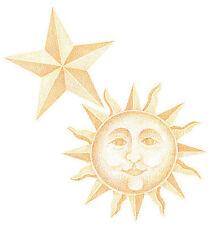 25 New Wallies Sun Moon Celestial Night Sky Stars Gold Border Wall Decorations