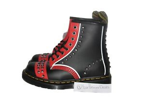 Doc Martens 1460 Stud Black Red White Boots Womens Size 5 Rare Studded