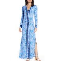 NWT Lilly Pulitzer Womens Blue White Faye Long Sleeve UPF Maxi Dress Size XS
