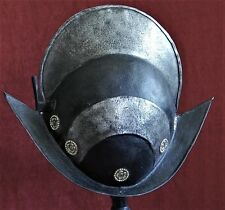 RARE16/17th century GERMAN BLACK AND WHITE (NUREMBERG OR AUGSBURG) MORION helmet