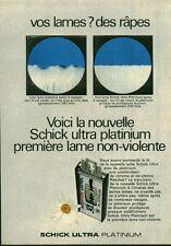 Publicité ancienne lames de rasoir Schick Ultra Platinium 1970  issue magazine
