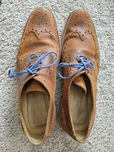 Billy Reid Mens Rust Leather Rustic Wingtip Shoes 12