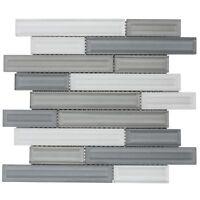 Modern Linear Grey White Glass Mosaic Tile Backsplash Kitchen Wall MTO0326