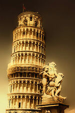 SUPERB ANTIQUE STYLE ITALIAN PISA TOWER CANVAS #430 QUALITY CANVAS PICTURE A1
