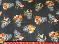 DAY OF THE DEAD SKULLS DIA DE LOS MUERTOS FABRIC Half Yard