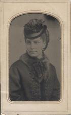 TINTYPE PORTRAIT OF BEAUTIFUL WOMEN IN LARGE HAT - BANGOR, ME