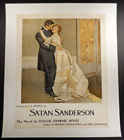A.B. Wenzell 1907 advertising poster for book Satan Sanderson linen-backed