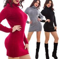 Maglione donna miniabito vestito tricot collo alto aderente sexy nuovo 2139