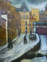 Vintage Oil painting C. Sterio Canal Street Gay Village Manchester Northern Art
