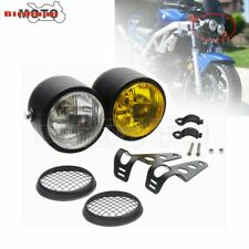 Dual Sport Motorcycle Twin Front Headlight Streetfighter Double Headlamp Black