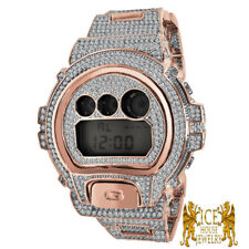 Men's Custom  Authentic G Shock DW 6900 Simulated Diamond Rose Gold Custom Watch