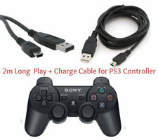 2M Long Play & Charge Cable for PS3 Controller GamePad Pad Charging Charger Lead