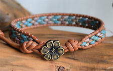Brown Violet Blue Turquoise Beaded Leather Wrap Bracelet Picasso Beads Yevga