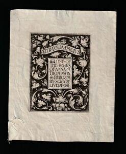 Au2. Ex Libris Armorial Bookplate. G W EVE for  ANNA M THOMPSON. Liverpool 1899