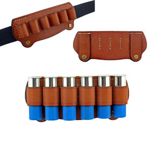 Tactical Hunting Magazine Pouch 6 Cartridge Leather Hunting Bandolier 12 Gauge
