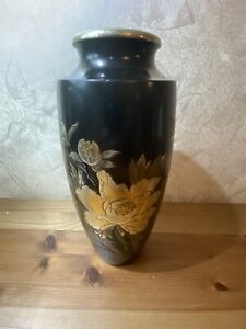 Antique Japanese Mixed Metal  Vase Bronze, Copper Silver And Gold Meiji Era