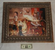 """Framed Surreal Ralph Wolfe Cowan """"Tiger Dreams"""" Giclee On Canvas Print #26/250"""