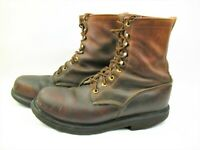 JUSTIN Original Work Boots Made in USA Lace Up Soft Toe Waterproof Mens Sz 9.5 D