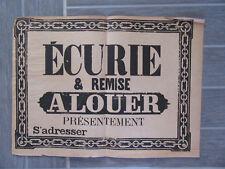 AFFICHE ANCIENNE 1810 ECURIE ET REMISE A LOUER   IMPRIMERIE CHEVAL EQUITATION