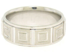 Men's 14k Solid White Gold Comfort Fit Dual Finish Coffered Band Ring Size 7