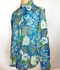 Vintage Alfie California 1970's Mod Polyester Disco Floral Graphic Shirt Large