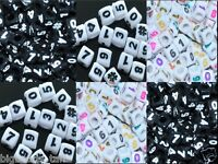100pcs cube white, black numbers acrylic beads 6mm, 7mm mixed in random