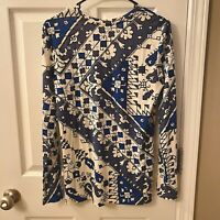 Tory Burch Blue Floral LS Knit Shirt Sz Sm 100% Pima Cotton