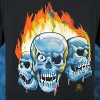 vintage 80s BLOOD SKULL FLAMES PAPER THIN T-Shirt LARGE biker skeleton punk rock