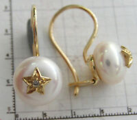 s CE968 Genuine 9K Solid Gold Natural Pearl & Diamond Earrings with Hook Closure