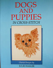 SALE - SAVE 40%  DOGS AND PUPPIES IN CROSS STITCH by JULIE HASLER - VINTAGE