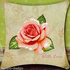Stickpackung Kissen Rose with Love 46x46 cm Liebe Pastel Kreuzstich DIY #F30016