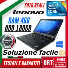 "PC NOTEBOOK PORTATILE LENOVO THINKPAD W500 15"" CPU CORE 2 DUO RAM 4GB HDD 180GB!"