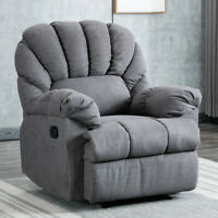 Recliner Chair Manual Sofa Armchair Backrest Padded Seat Fabric Soft Seat Single