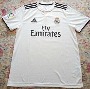 Real Madrid Home Football Shirt 2018/19 LARGE Original Adidas White(fairly used)
