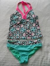 32f25c310643c Girls size 14 Two Piece Tankini Aqua Gray & Pink Abstract Design Swim Suit