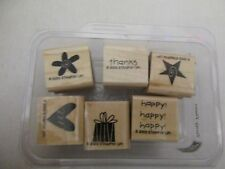 Stampin' Up! TEENY TINIES Set/6 Wood Mounted Rubber Stamps-NEW