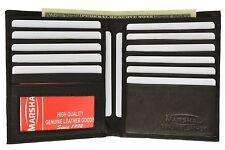 New Men's Genuine Cowhide Leather Bifold Wallet Black Credit Card Holder Purse