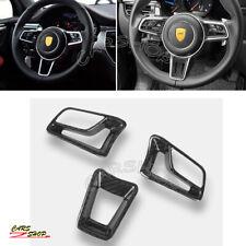 Carbon Fiber Interior Steering Wheel Trim Cover For Porsche 718 Boxster Macan