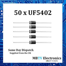 50 x UF5402 Diode 200V 3Amp 2 Pin DO-2 Soft Recovery Ultrafast Plastic Rectifier