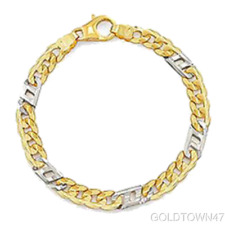 Two Tone Men's Link 14kt Yellow+White Gold Shiny