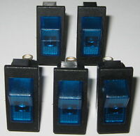 5 X Swann Industries Illuminated Rocker Switch - SPST - 125V 15A - Lighted Blue