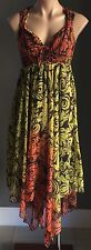RIVER ISLAND Rust, Lime & Black Sleeveless Hanky Hem Dress Size 6 - Gorgeous!!